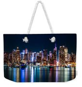 New York Panorama By Night Weekender Tote Bag