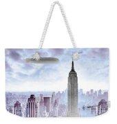 New York Skyline And Blimp Weekender Tote Bag