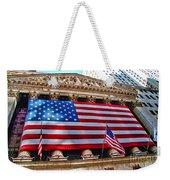 New York Stock Exchange With Us Flag Weekender Tote Bag