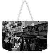 New York City Street Fair - Calamari Sausage - Black And White  Weekender Tote Bag