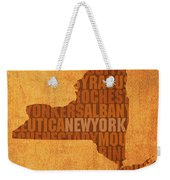 New York Word Art State Map On Canvas Weekender Tote Bag