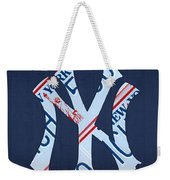 New York Yankees Baseball Team Vintage Logo Recycled Ny License Plate Art Weekender Tote Bag
