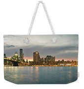 New York City - Brooklyn Bridge To Manhattan Bridge Panorama Weekender Tote Bag
