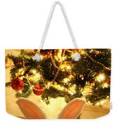 New Zealand White Rabbit Under The Christmas Tree Weekender Tote Bag