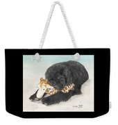 Newfoundland Dog In Snow Stuffed Animal Cathy Peek Art Weekender Tote Bag