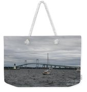 Newport Bridge With Newport Harbor Light Weekender Tote Bag