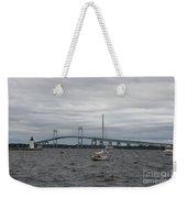Newport Bridge With Newport Harbor Light Weekender Tote Bag