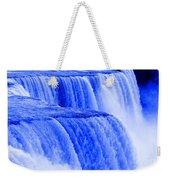 Niagara Falls Closeup In Blue Weekender Tote Bag