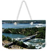Niagara River And Goat Island Aerial View Weekender Tote Bag