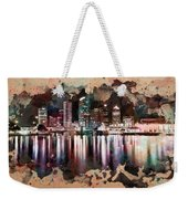 Night City Reflections Watercolor Painting Weekender Tote Bag