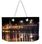 Night On Santa Monica Beach Pier With Bright Colorful Lights Reflecting On The Ocean And Sand Fine A Weekender Tote Bag