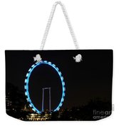 Night Shot Of The Singapore Flyer Ferris Wheel At Marina Bay Weekender Tote Bag
