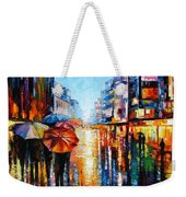 Night Umbrellas - Palette Knife Oil Painting On Canvas By Leonid Afremov Weekender Tote Bag