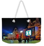 Night View Of Gum-former State Department Store-in Red Square In Moscow-russia Weekender Tote Bag
