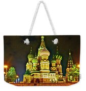 Night View Of Saint Basil Cathedral In Red Square In Moscow-russia Weekender Tote Bag