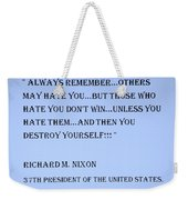 Nixon Quote In Cyan Weekender Tote Bag