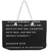 Nixon Quote In Negative Weekender Tote Bag