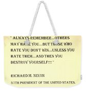 Nixon Quote In Sepia Weekender Tote Bag