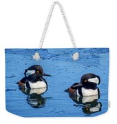 Male Hooded Merganser Pair Weekender Tote Bag