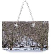 Snowy Picnic Ground In Winter Weekender Tote Bag