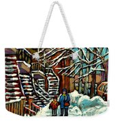 No School Today Out For A Snowy Walk Verdun Winter Winding Staircases Montreal Paintings C Spandau Weekender Tote Bag