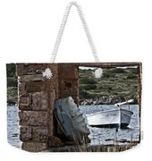 Vintage Boat Framed In Nature Of Minorca Island - Hide And Seek Weekender Tote Bag