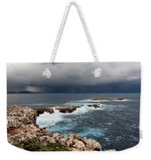Wild Rocks At North Coast Of Minorca In Middle Of A Wild Sea With Stormy Clouds Weekender Tote Bag