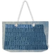 North Dakota Word Art State Map On Canvas Weekender Tote Bag