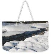 North Saskatchewan River In Winter Weekender Tote Bag