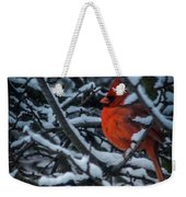 Northern Cardinal In Winter Weekender Tote Bag