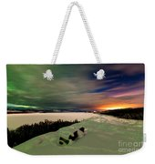 Northern Lights And City Light Pollution Night Sky Weekender Tote Bag