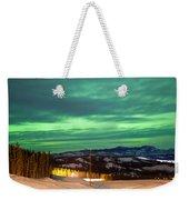 Northern Lights Aurora Borealis Over Rural Winter Weekender Tote Bag