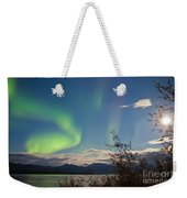 Northern Lights Full Moon Over Lake Laberge Yukon Weekender Tote Bag