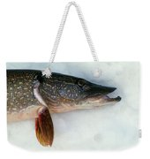 Northern Pike Fish On Snow, Close Weekender Tote Bag