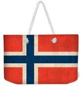 Norway Flag Distressed Vintage Finish Weekender Tote Bag by Design Turnpike