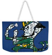 Notre Dame Fighting Irish Leprechaun Vintage Indiana License Plate Art  Weekender Tote Bag by Design Turnpike