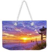 Nsb Lifeguard Station Sunrise Weekender Tote Bag