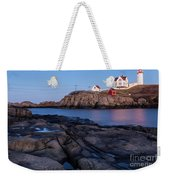 Nubble Light Along Maine's Rugged Coast York Beach Maine Weekender Tote Bag