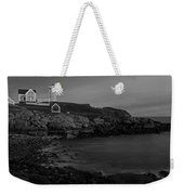 Nubble Light At Sunset Bw Weekender Tote Bag by Susan Candelario