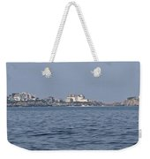 Nubble Lighthouse From Long Sands Beach Panorama Weekender Tote Bag