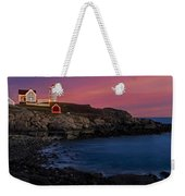 Nubble Lighthouse At Sunset Weekender Tote Bag