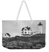 Nubble Lighthouse Cape Neddick Maine Black And White Weekender Tote Bag