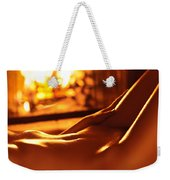 Nude Shiny Woman Body In Front Of Fireplace Weekender Tote Bag