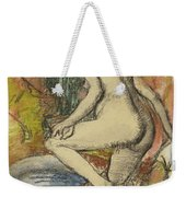 Nude Woman Wiping Herself After The Bath Weekender Tote Bag