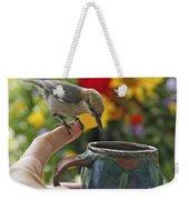 Nuthatch Bird On Finger Photo Weekender Tote Bag