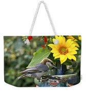 Nuthatch Bird Having Tea Weekender Tote Bag