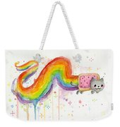 Nyan Cat Watercolor Weekender Tote Bag