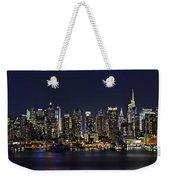 Nyc Skyline Full Moon Panorama Weekender Tote Bag by Susan Candelario