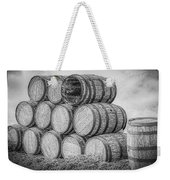Oak Wine Barrels Black And White Weekender Tote Bag