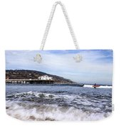Ocean Waves Blue Sky And A Surfer At Malibu Beach Pier Weekender Tote Bag